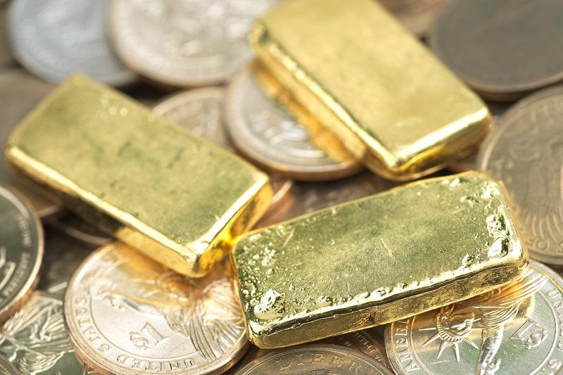 Gold bars & silver coins