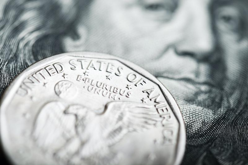 US dollar and coin