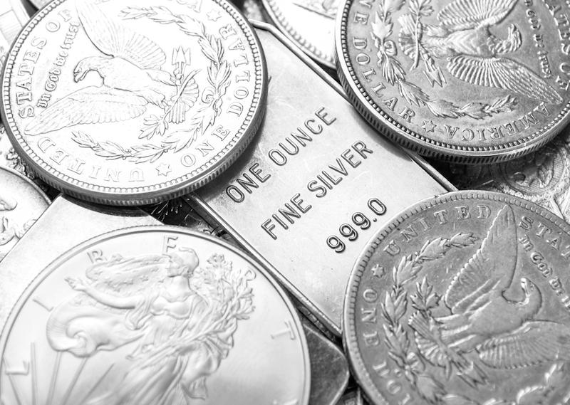 Silver bar and coins