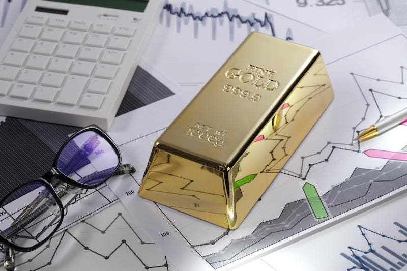 Gold bar on graph
