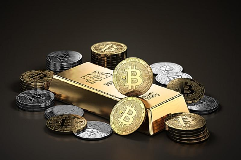 Image of bullion gold and silver coins and a gold bar