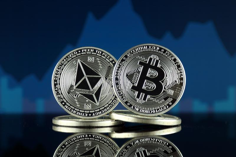 Bitcoins with graph in background