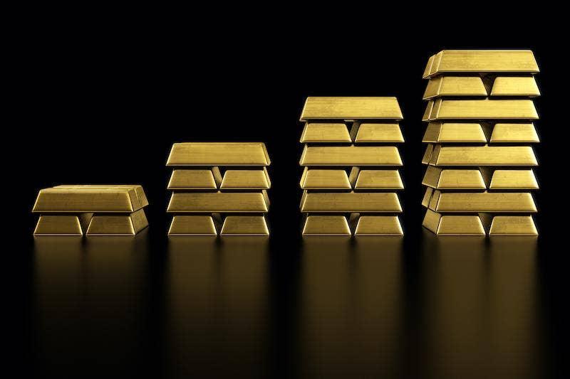 Gold bar stacks