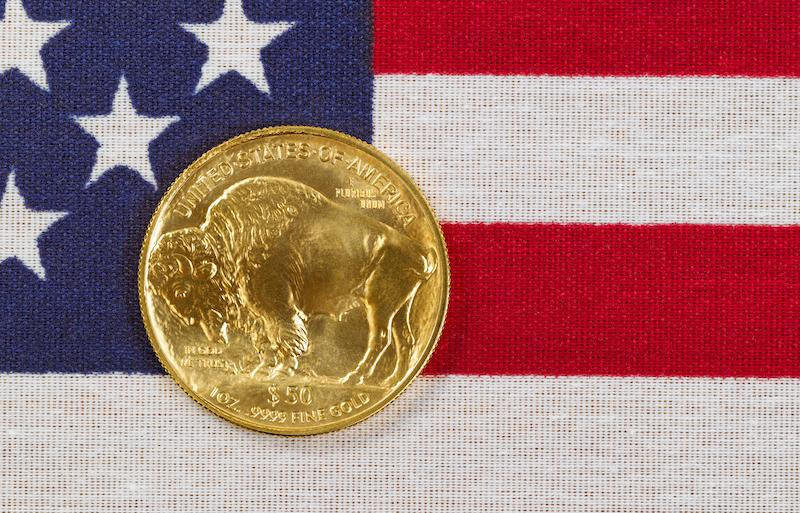 US Flag with gold coin