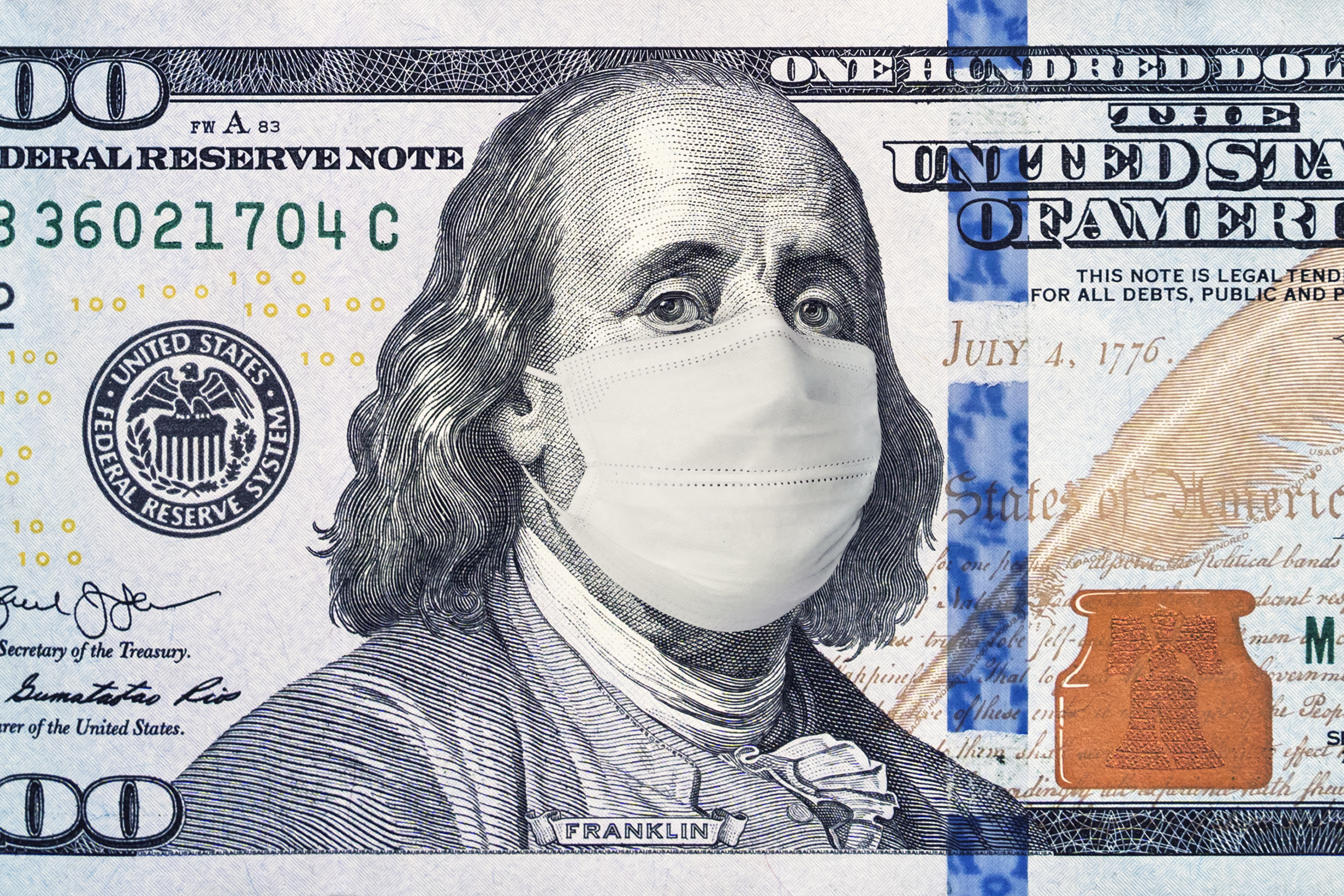 Image of Ben Franklin on the US $100 bill with a face mask on.