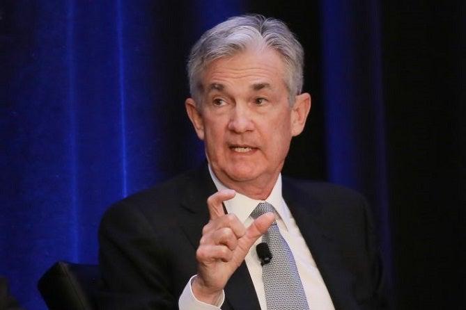 Fed Chairman Powell captured explaining something