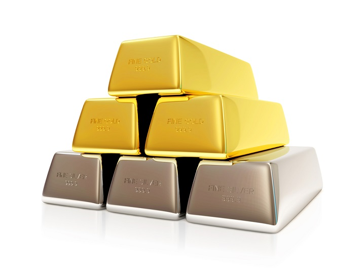 Three gold bars stacked on top of 3 silver bars