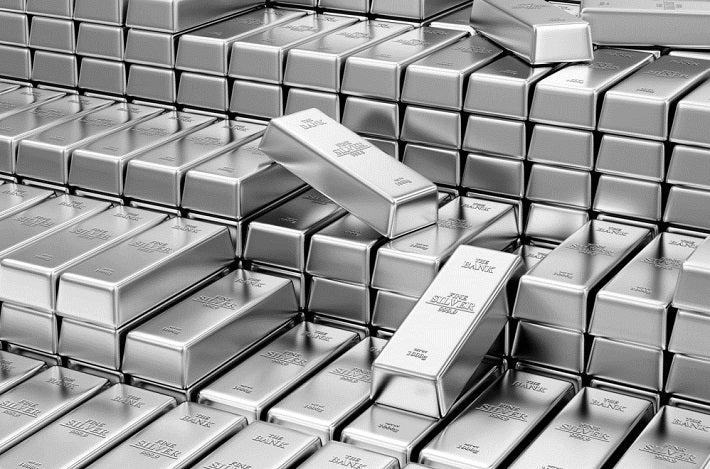 Multiple stacks of silver bars