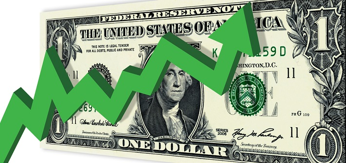 Green arrow flutuating up and down in front of a US dollar bill