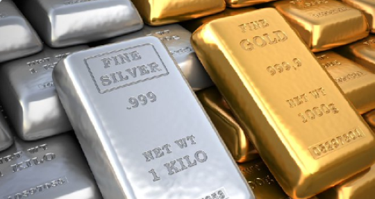 Image of Gold bar and Silver bar side by side