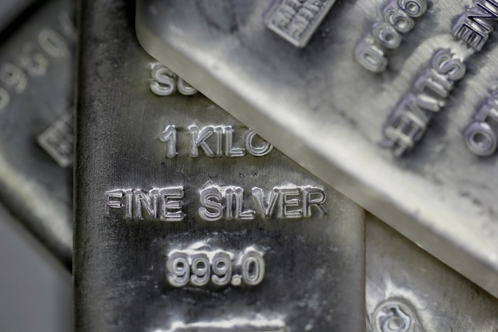 Images of silver bars overlayed on each other