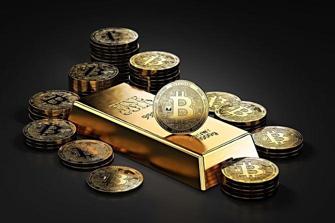 Image of bitcoins surrounding a gold bar.