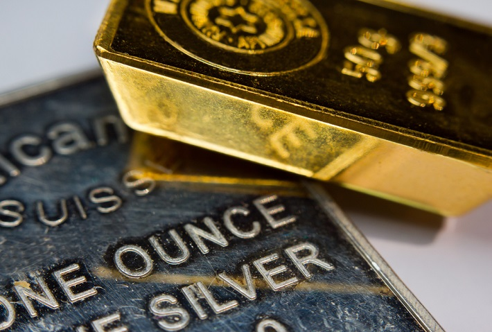 Image of one ounce silver and 50 g gold bullion
