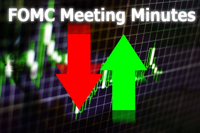 FOMC - Federal Open Market Committee Meeting minutes written on an image of red down arrow and green up arrow