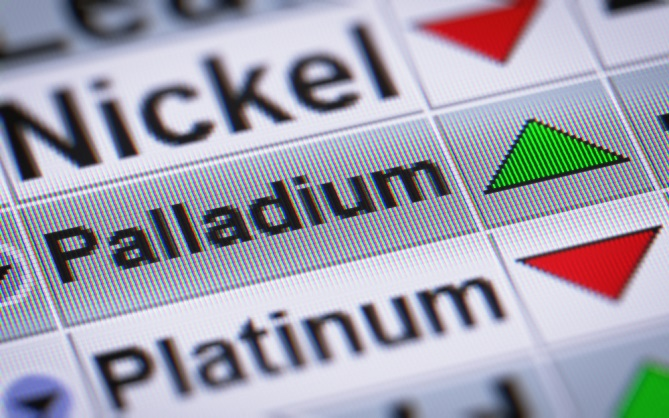 Image shows nickel, palladium and platinum and their price going up or down