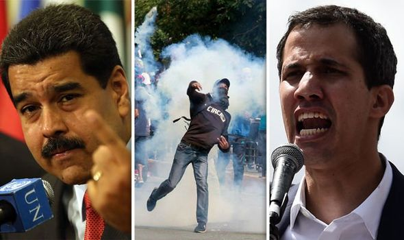 Heads shots of Nicolas Midura and Juan Gauldo with a protester throwing an object in between them.