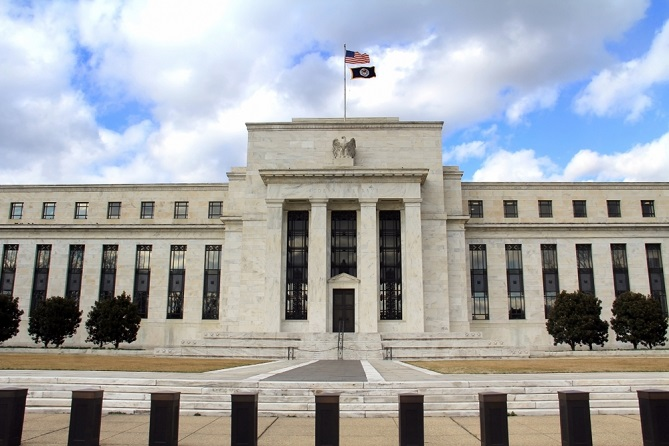 FOMC - Federal Open Market Committee building with a flag on the top