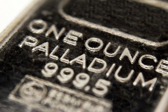 One Ounce Palladium bar in a close-up