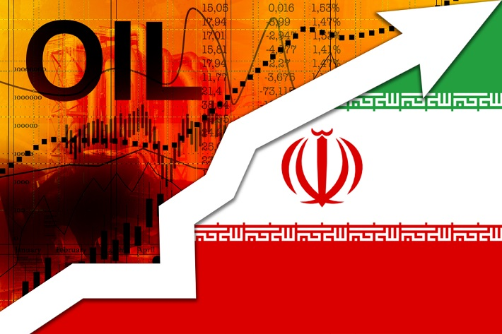 Graphic of the a partial flag of Iran with an oil prices chart on an upward trajectory.
