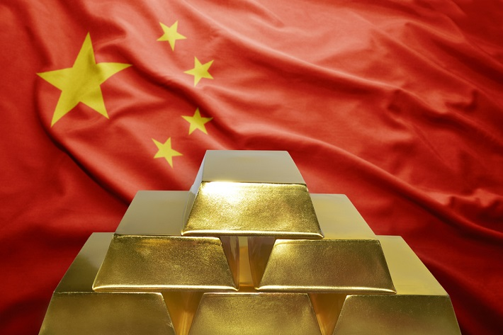 Image: Chinese Flag with Pile of Gold