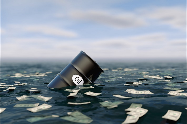 A barrell of oil floating in a sea of water and floating paper money.
