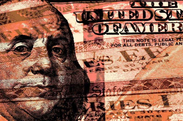 Image of Ben Franklin on the front of a American dollar bill