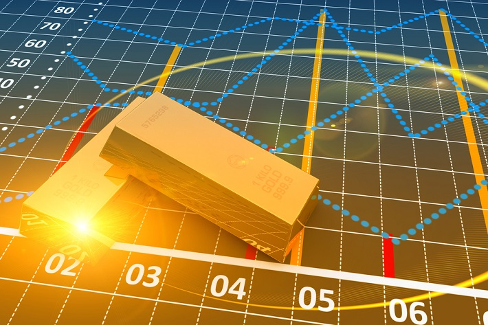 Image of 2 gold bars, one with a shining corner, in front of multiple graphs trending up and down