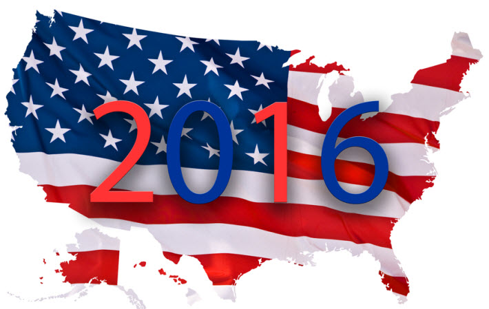 USA flag with 2016 on the front
