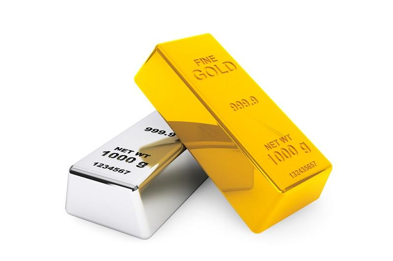 Image of a silver bar and a gold bar resting on silver in a slanting position