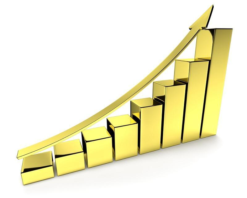 Images shows bar graph in golden color with a golden upward arrow