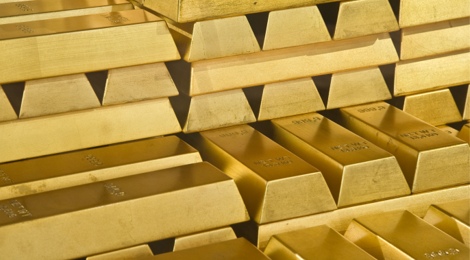 Close up view of stacks of gold bullion bars