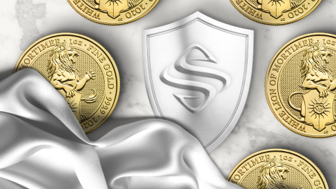 The Sprott logo on a shield surrounded by gold coins