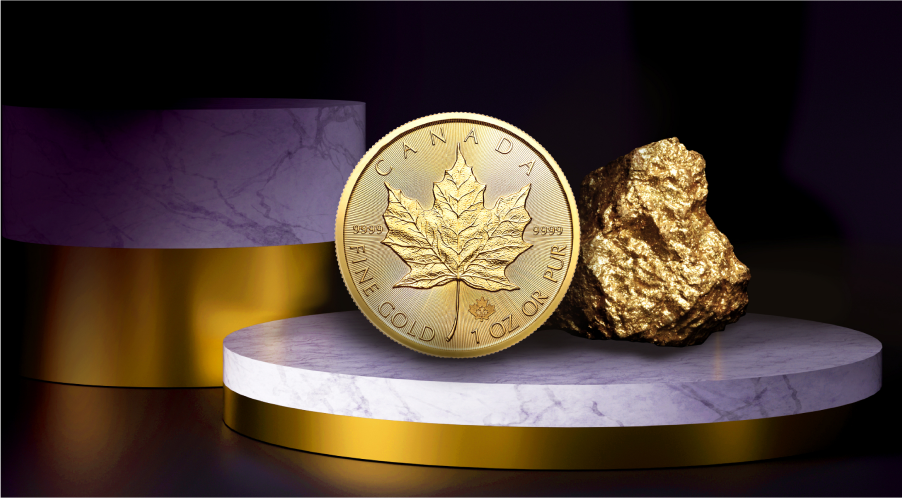 A gold coin next to a gold nugget on a table